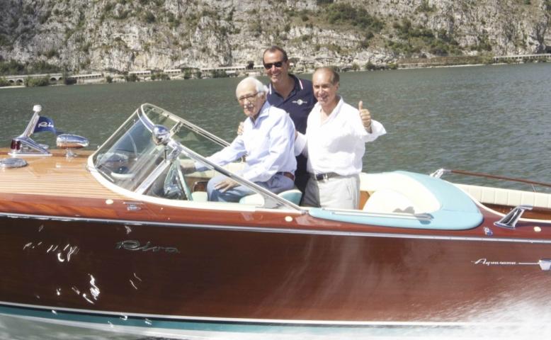 Fabio Lamborghini e Carlo Riva sull'Aquarama di Ferruccio