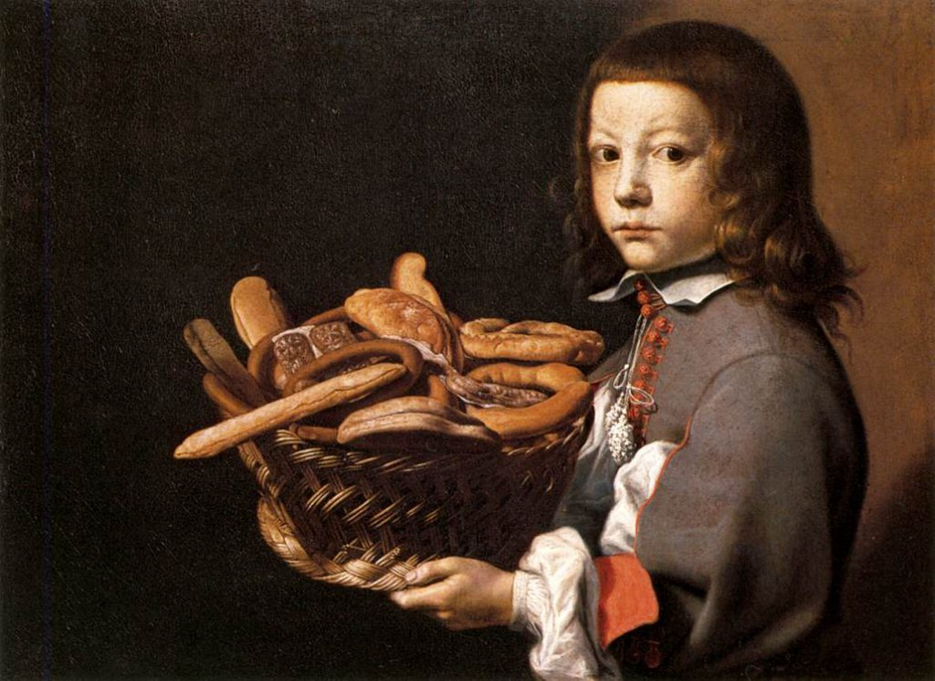 Evaristo Baschenis Boy with a Basket of Bread WGA1404