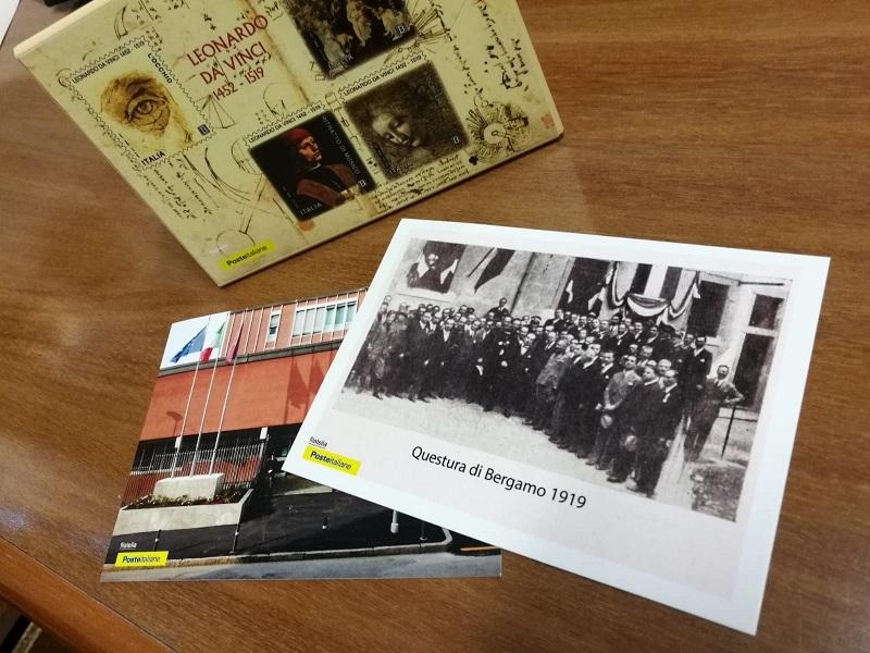 cartoline e timbro postale questura bergamo