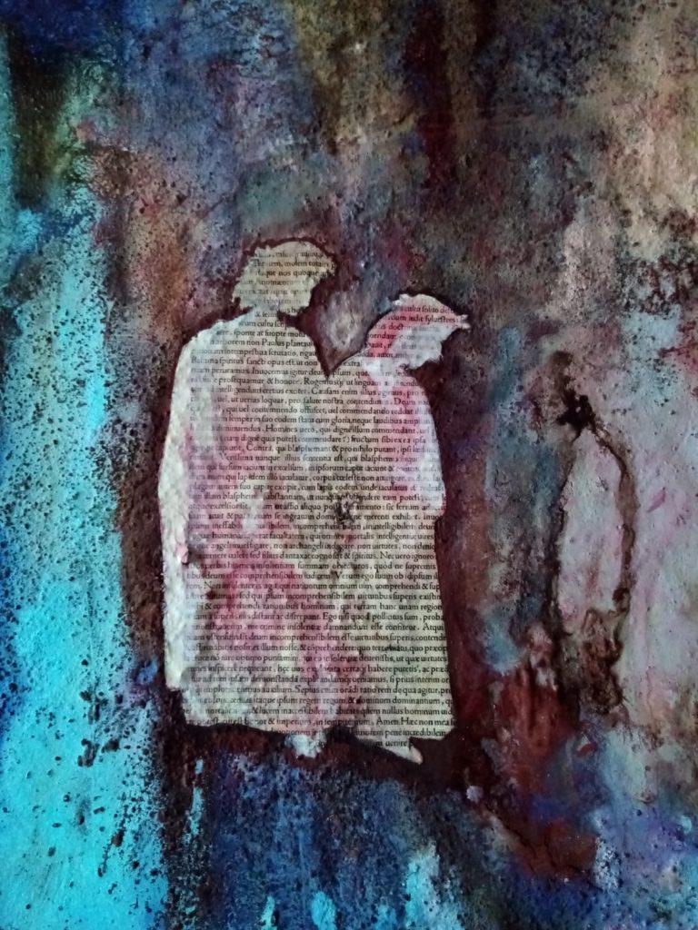 V. Patarini Dante e Virgilio Discesa allInferno part. cemento pagine del Cinquecento e pigmenti su tela cm 120x100 2020